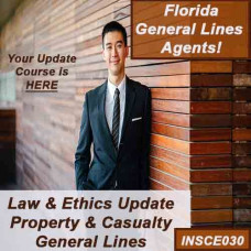 Florida: 5hr Property & Casualty Law and Ethics update Package - for 2-20, 4-40, and 20-44 agents - 9hrs includes 5 hr CE 05220 Law and Ethics update and and 4 hours CE 0220 General Lines general elective credits (INSCE030)